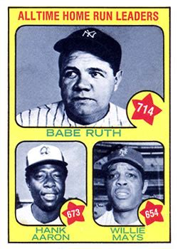 1973 topps 1 alltime home run leaders the trading card