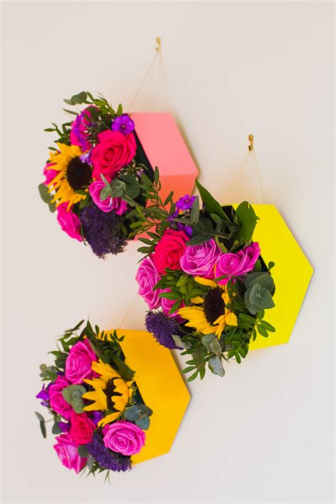 decor flowers diy geometric hexagon flower boxes for a pop of colour on