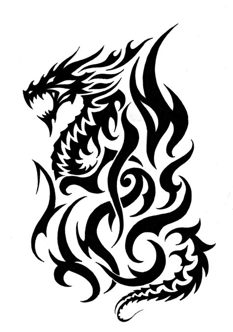 dragon with fire tattoo designs tribal tattoos designs clipart best