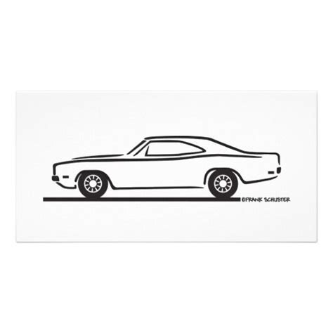 simple car outline 1969 dodge charger photo card