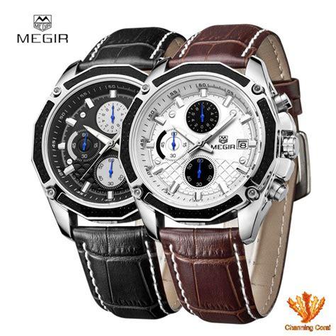 Jam Tangan Merek Quartz jam tangan pria quartz tali kulit asli merek megir 2015