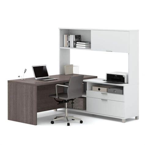 Professional Computer Desks Bestar Pro Linea L Desk With Hutch In White And Bark Grey 120882 47