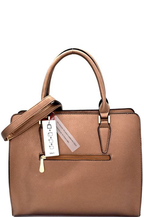 Fashion 8190 Set 4in1 my6557sp bronze stud accent 4 in 1 structured satchel set