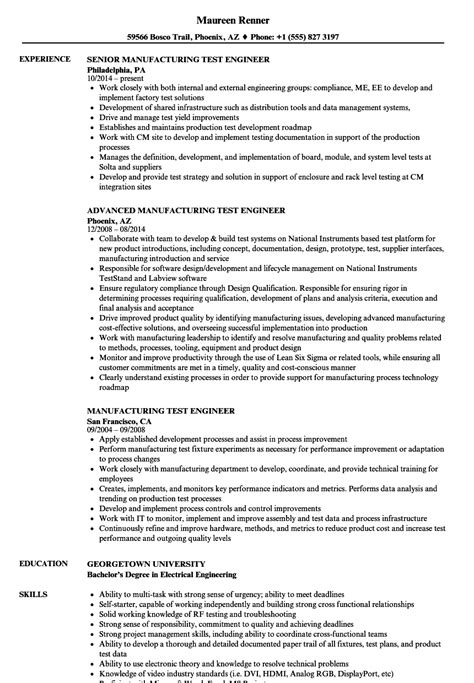 Manufacturing Test Engineer by Engineering Resumes Sles Sle Resume For Usajobs