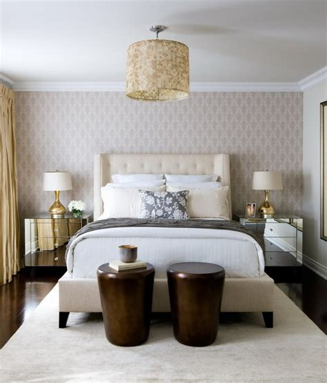 wallpaper bedroom accent wall toronto interior design group contemporary ivory and gold