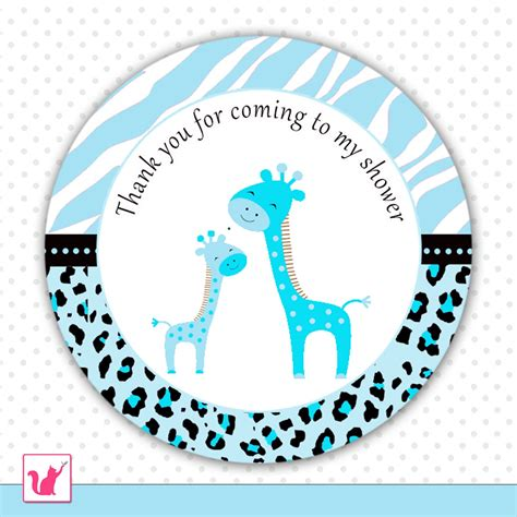 thank you card template baby shower tags printable blue giraffe thank you tags baby shower