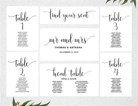 table plan cards template wedding seating chart template instant seating