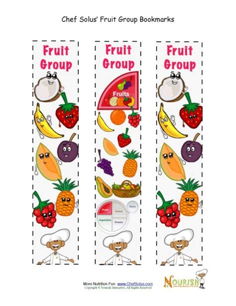 free printable nutrition bookmarks bookmark food group fruit chef solus activity
