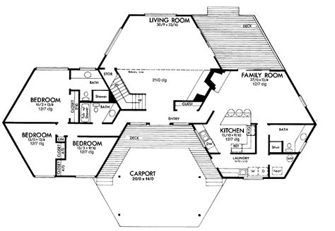 Hexagon House Plans | 19 beautiful hexagon floor plans home building plans 71910