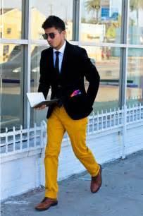 men s black blazer white dress shirt yellow chinos