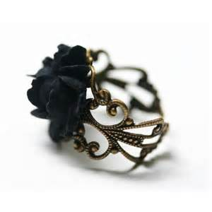 Midnight garden victorian black rose ring by robinhoodcouture photo