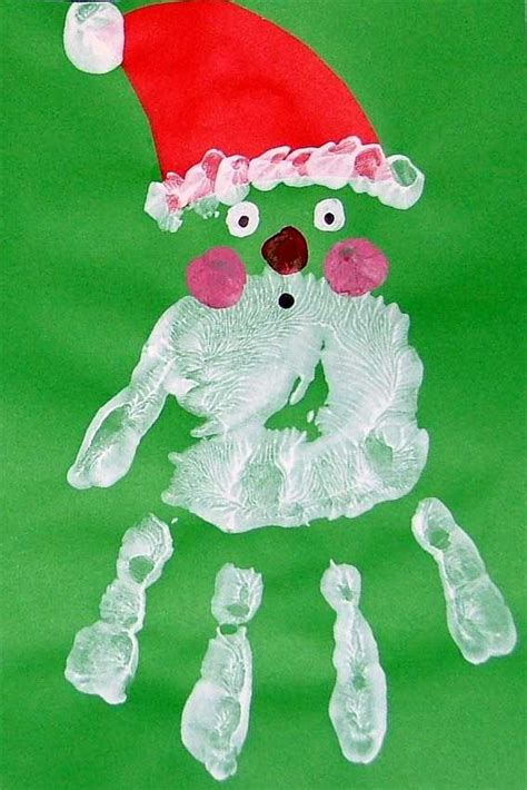 handprint santa craft christmas craft kindergartenklub
