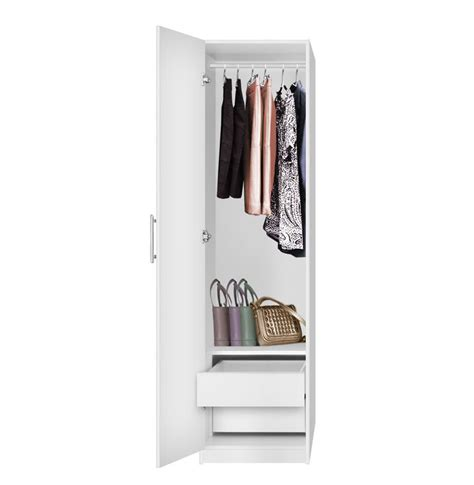 2 Door Closet Alta Narrow Wardrobe Closet Left Door 2 Interior Drawers Contempo Space