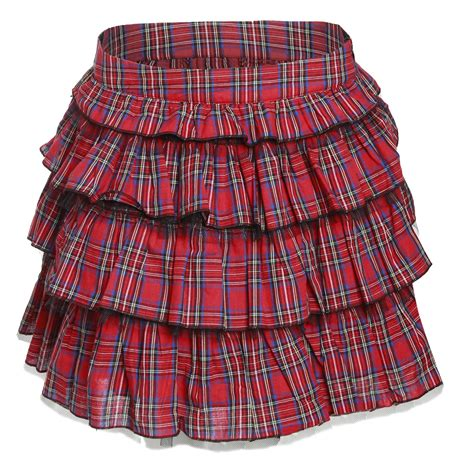 womens mini skirt tartan tiered checked skater