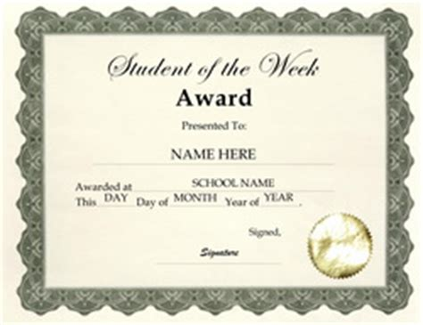 student of the week certificate template free free award templates for elementary school