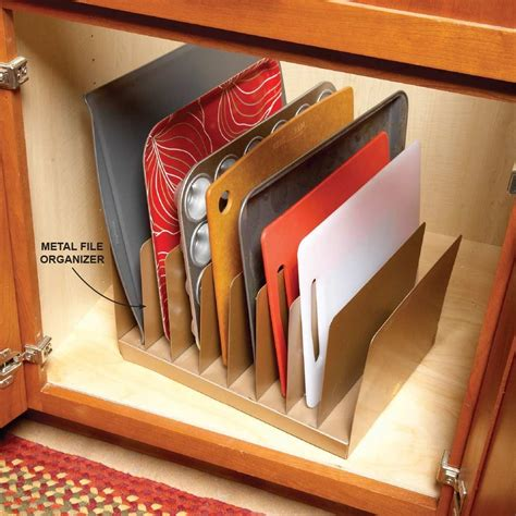 cookie sheet storage cabinet why didn t i think of that baking sheet cuttings and