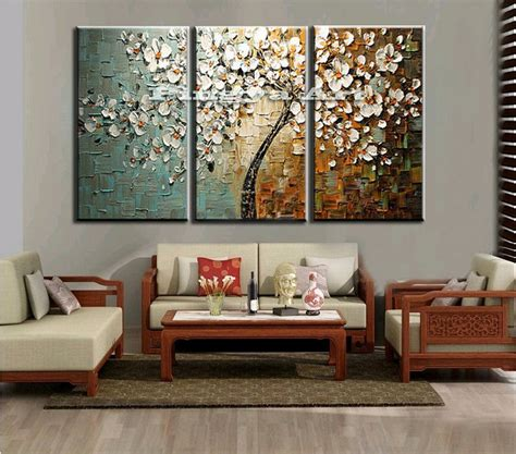 wall sets for living room 3 panel abstract wall cheap modern handmade tree peacock picture canvas painting sets