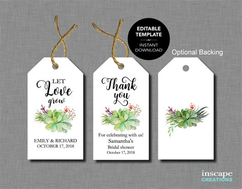 printable thank you tags for bridal shower favors succulents editable bridal shower favor tags template