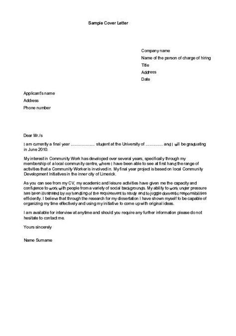cover letter exles for an internship sle cover letters for employment sle cover letter