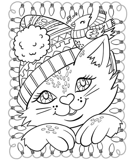 crayola coloring cat page christmas cat and cardinal coloring page crayola com