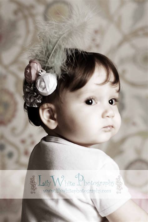soft pink gray feather and flower newborn headband newborn baby headbands baby flower headband newborn