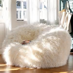white faux fur bean bag chair fur beanbags by kloudsac