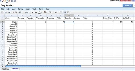 Etsy Spreadsheet by Absolutely Small The Etsy Goal Spreadsheet