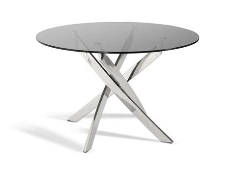 Glass Circular Dining Table Modrest Spark Modern Smoked Glass Circular Dining Table