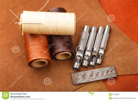 Handmade Leather Craft - handmade leather craft equipment stock photo image 33738030