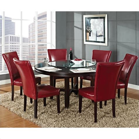 charity 7pc dining room set in cherry table chairs formal hartford 7 piece 62 inch round dining table set in dark