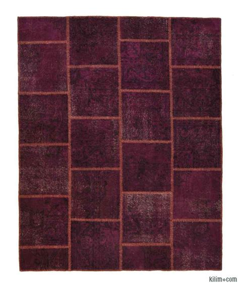 Overdyed Patchwork Rug - k0005911 purple dyed turkish patchwork rug
