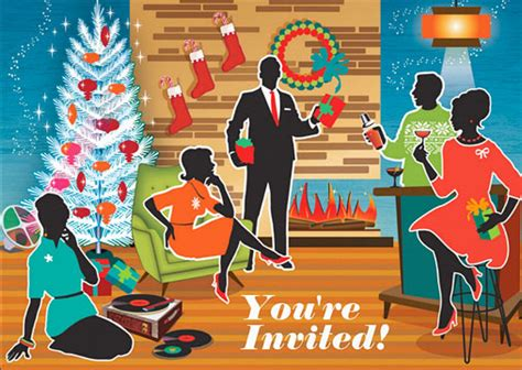 vintage christmas cocktail party modern friends holiday party invitations retro christmas