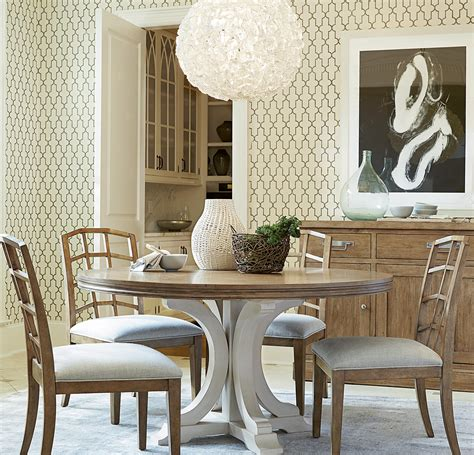 french modern white wood pedestal  dining table