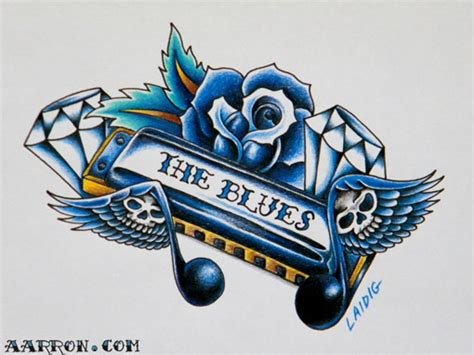 blues harp tattoo flash art