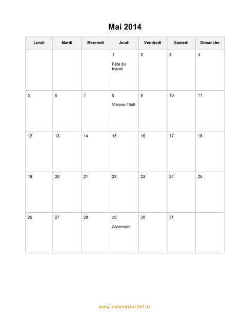 Calendrier Mai 2014 à imprimer gratuit en PDF et Excel