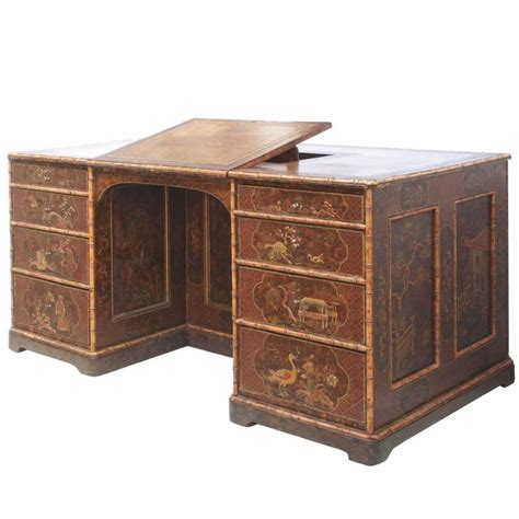 library desk chinoiserie desk library table with faux bamboo trim for
