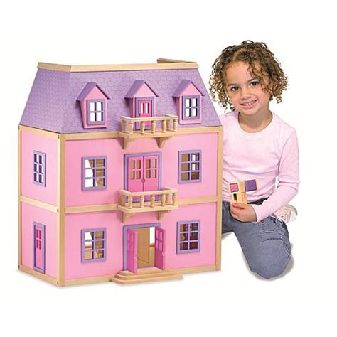 melissa and doug wooden doll house multi level wooden dollhouse 7010863 hsn