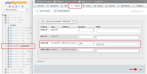 Search Database Delete Custom Fields From Database With Phpmyadmin Html Tuts