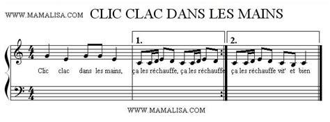 partition musicale clic clac dans les mains partition musicale partition  comptine du monde