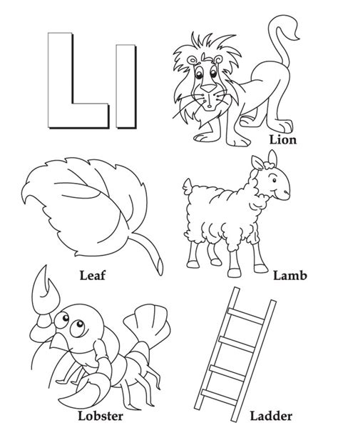 block letter l coloring coloring pages