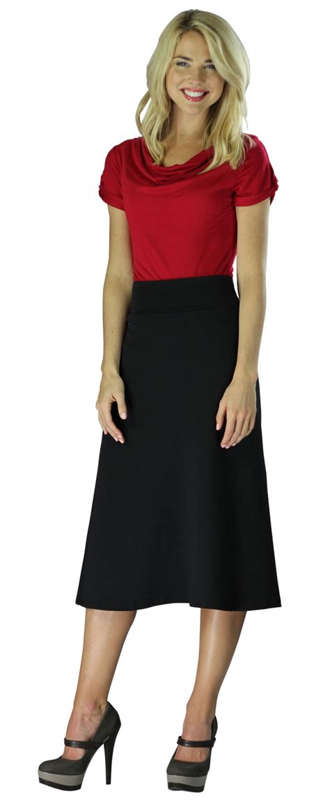 Knit Top A Line Skirt modest midi skirts in black
