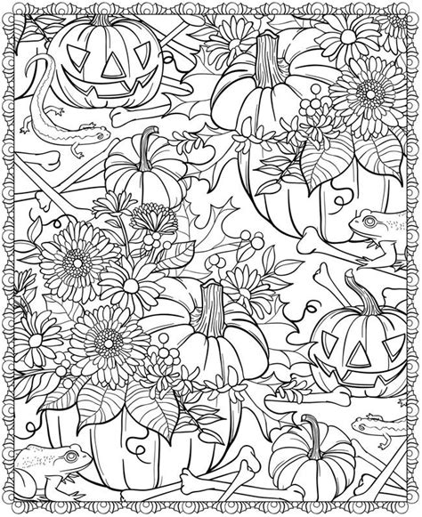 autumn fall halloween coloring page pumpkins bones