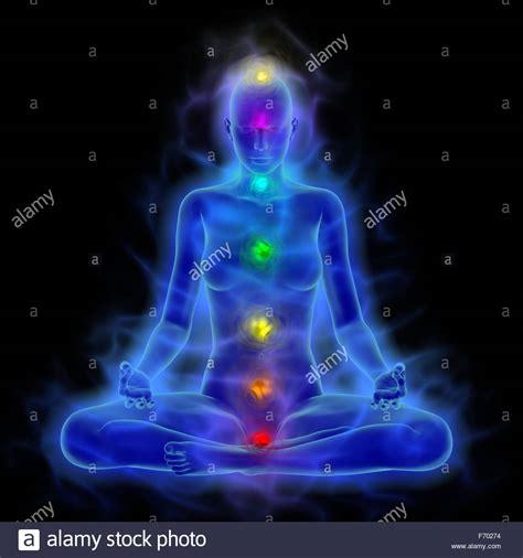 human aura human energy aura chakra in meditation stock photo