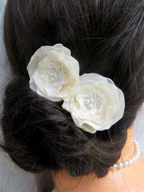 floral hair accessories for wedding ivory cream wedding bridal flower hair clips set of 2