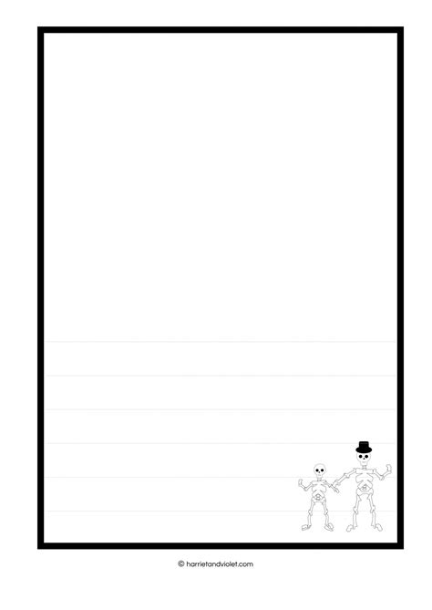 Lined Paper With Plain Border | funnybones style skeleton border paper plain half lined