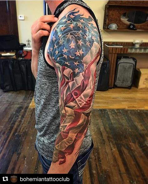 american flag tattoo on arm repost bohemiantattooclub with repostapp american