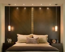 Impressionnant Idee Petite Chambre Adulte #8: Remplacer-tête-lit-panneau-mural-décoratif-spots-suspensions.jpg
