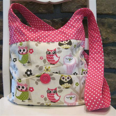 How To Make Handmade Purses - handmade fabric bags purses shoulder bag owl and pink