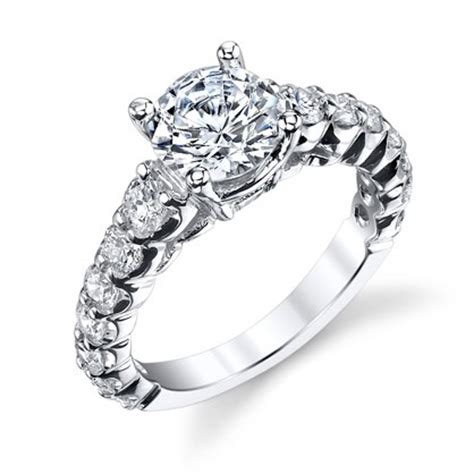 shared prong antique style engagement ring with large