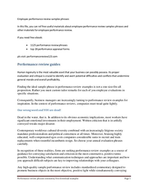 Appraisal Letter For Colleague Employee Performance Review Sles Phrases